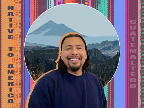 """Composition with a smiling man, a mountainous illustration, a striped design and the words """"native to America"""" and """"guatemalteco"""""""