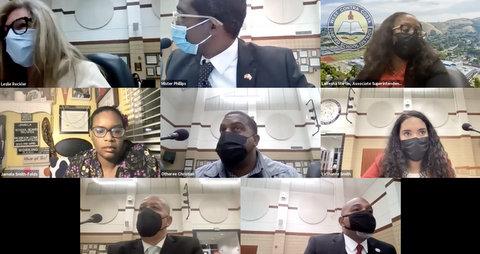 Eight people in virtual meeting